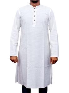 White Handloom Cotton Panjabi