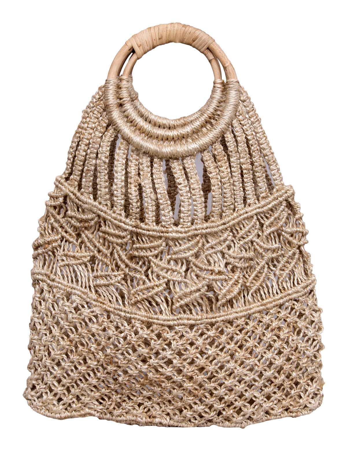 Silk Brown Jute Hand Bag