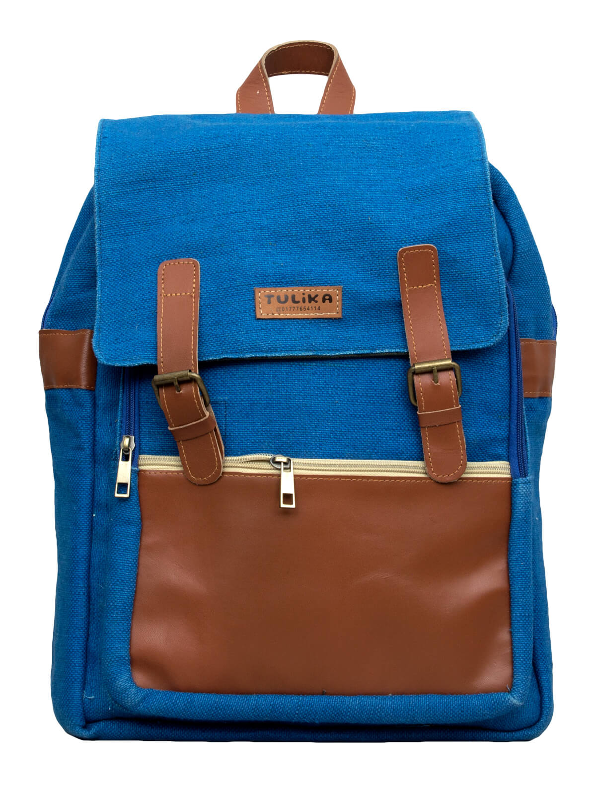 Cobalt Blue Jute Leather School Bag