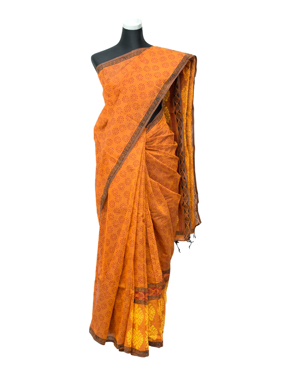 Neon Carrot Orange Half Silk Saree
