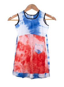 Red Blue Cotton Baby Frock