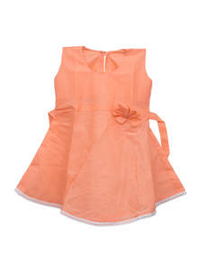 Peach Cotton Baby Frock