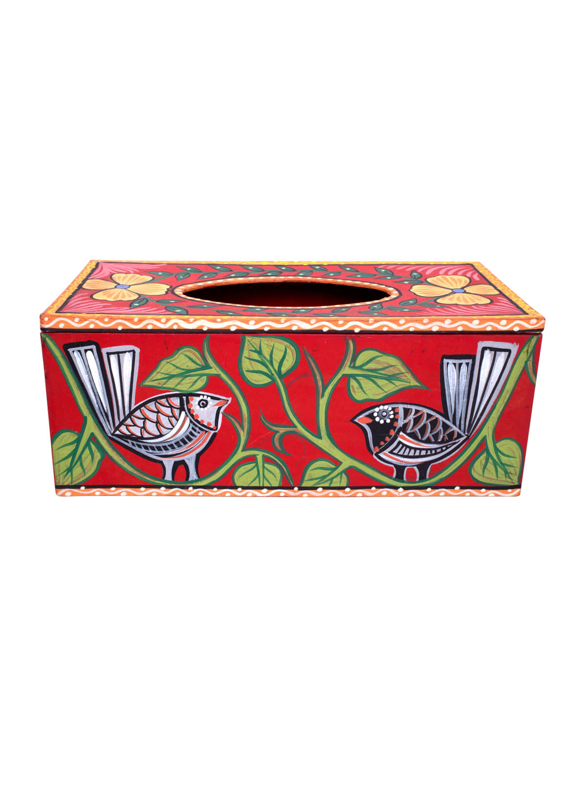 Red Hand Paint Tissue Box