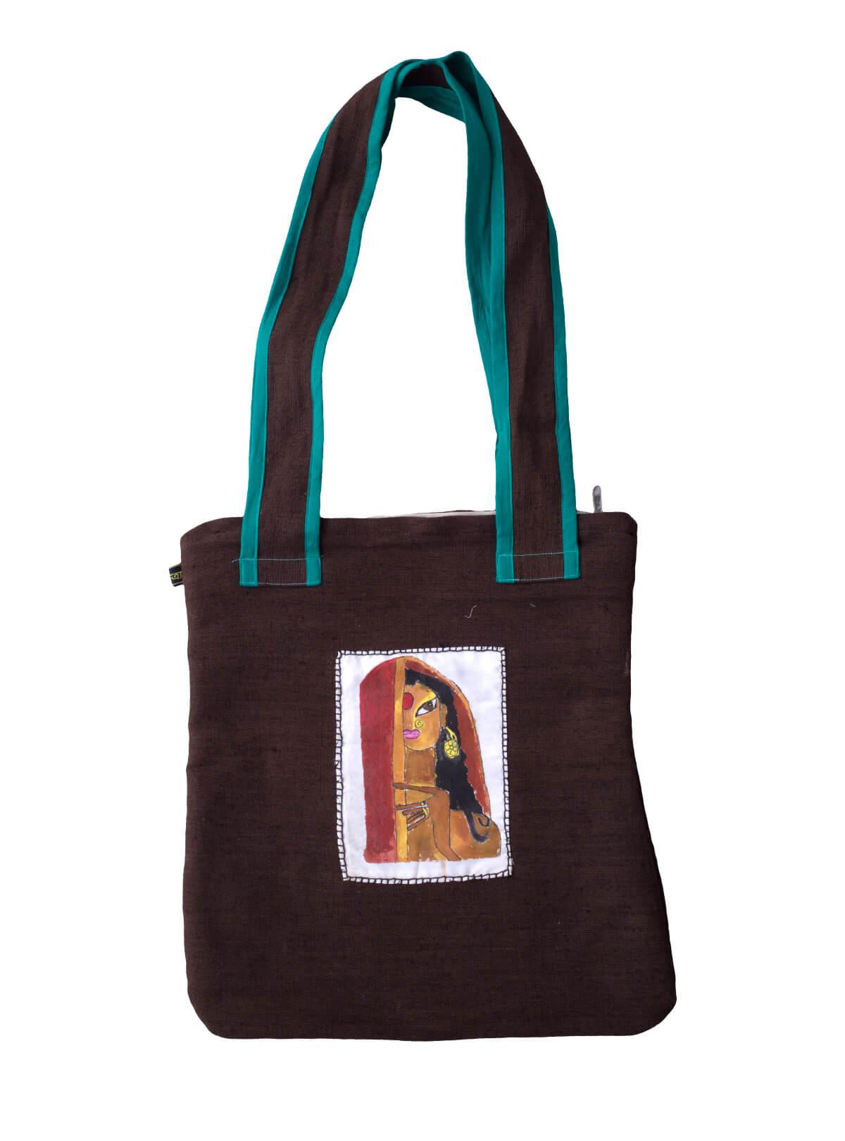 Havana Brown Jute Kobi Bag