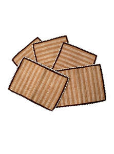 Brown Jute Placemat Set With Runner