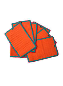Orange Cotton Place Mat Set With Table Runner