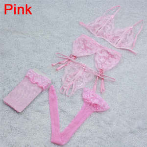 Lovebitebd Lace Open Crotch G-String + Bra + Net Socks + Sling Lingerie Set