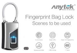 Anytek L1 Mini portable metal smart intelligent Fingerprint Lock Anti Theft Biometric padlock bag luggage security protector