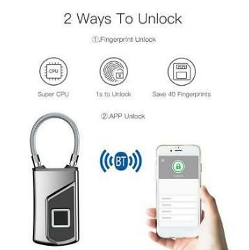 Anytek L1 + Waterproof Keyless Portable Bluetooth Smart Fingerprint Lock Padlock Anti-Theft Ios Android APP Control Door Cabin