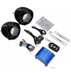 Motorcycle Alarm System Speaker Waterproof Horns with LED Flash Lights AUX Audio MP3 Player with Bluetooth Function