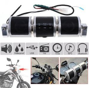 Waterproof Silver Aluminum Motorcycle Bluetooth Music Player with FM Radio and MP3 USB Earphone Interfaces