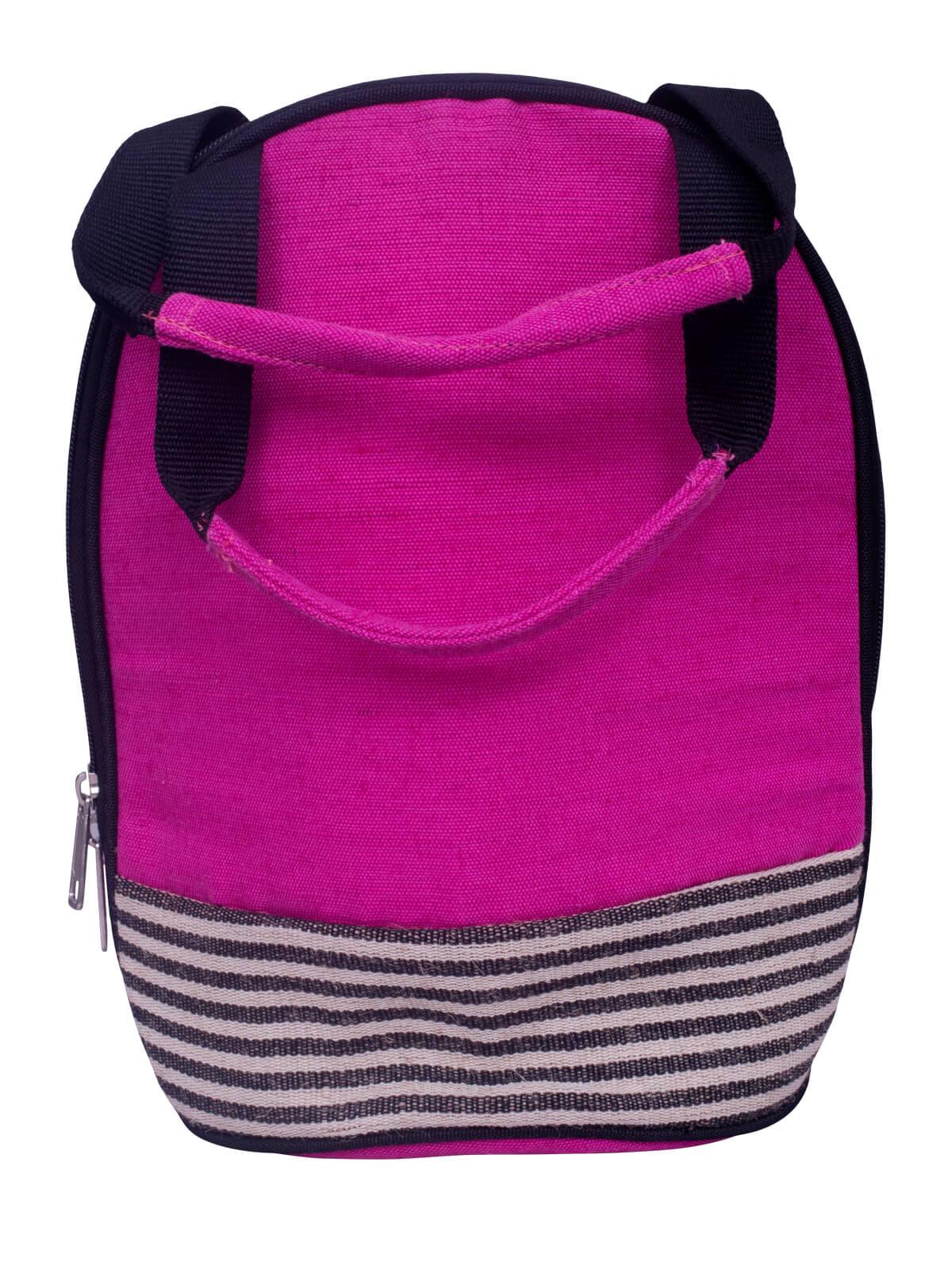 Pink Jute Lunch Bag