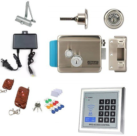 Electronic Motorized Door Lock Full kit with 2Reomte+10RFID+3Key+Password-Silver