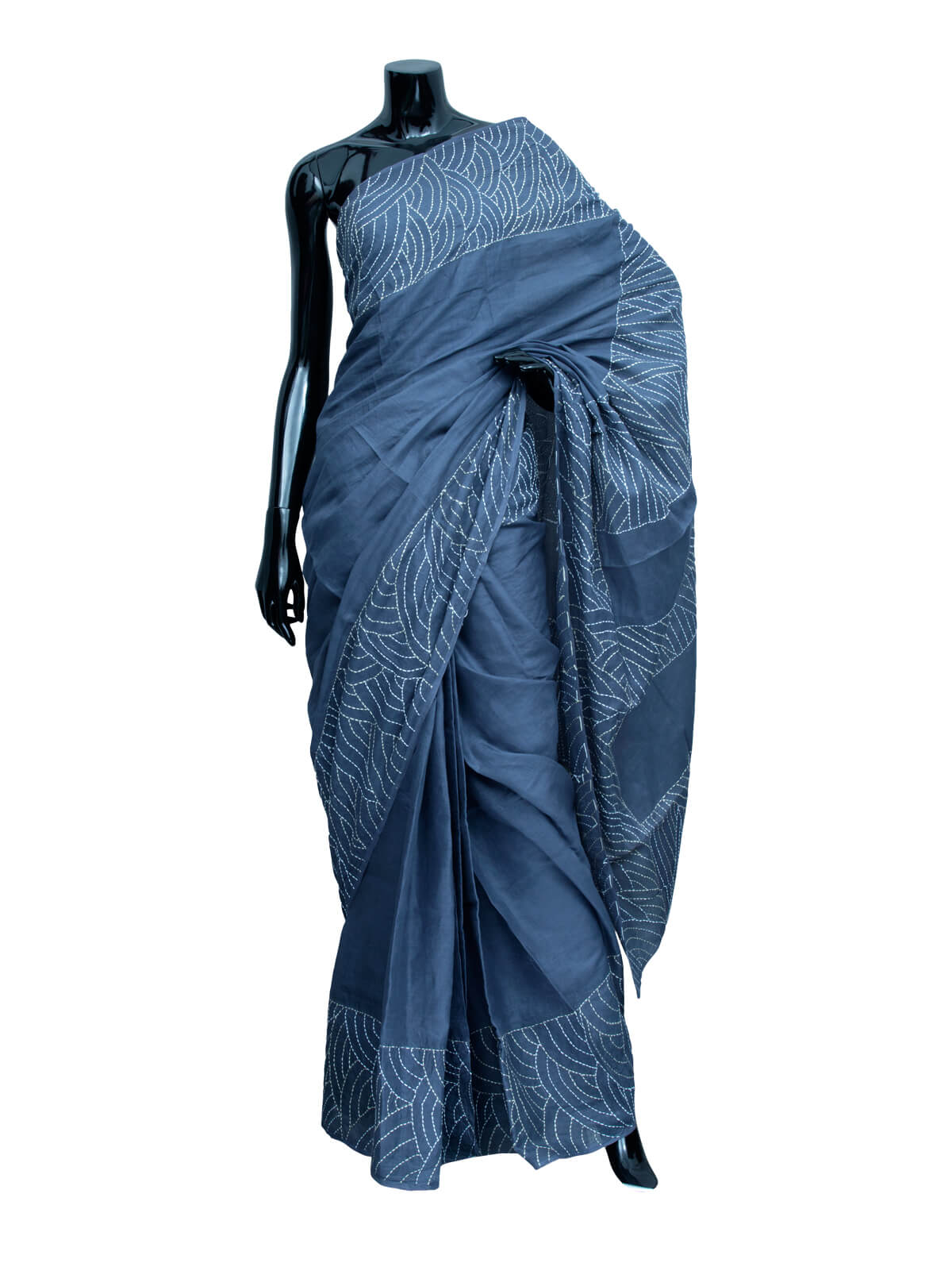 San Marino Blue Handwork Cotton Saree