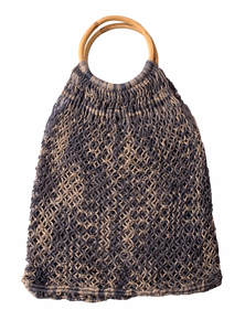 Black & Off White Ladies Jute Hand Bag