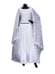 White Tissue Shatin Lehenga