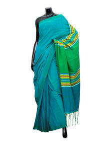 Multi-Color in Solid Green Gamcha Style Saree