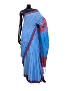 Thin white color stripe in sky blue color Gamcha Style Saree
