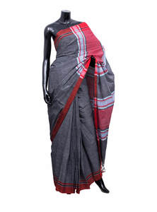 Black & White Check Texture Gamcha Style Saree