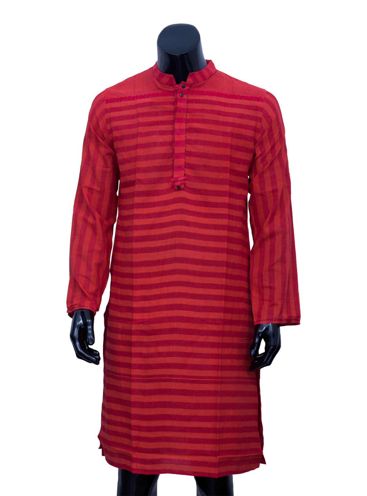 Red Yarn On Red and Orange Stripe Panjabi