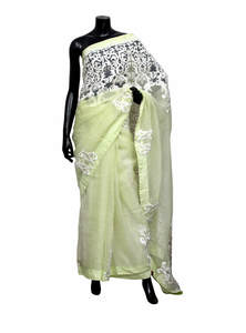 Light Lime Green Muslin Saree With Blouse Piece