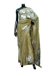 Soya Bean Brown Muslin Saree With Blouse Piece