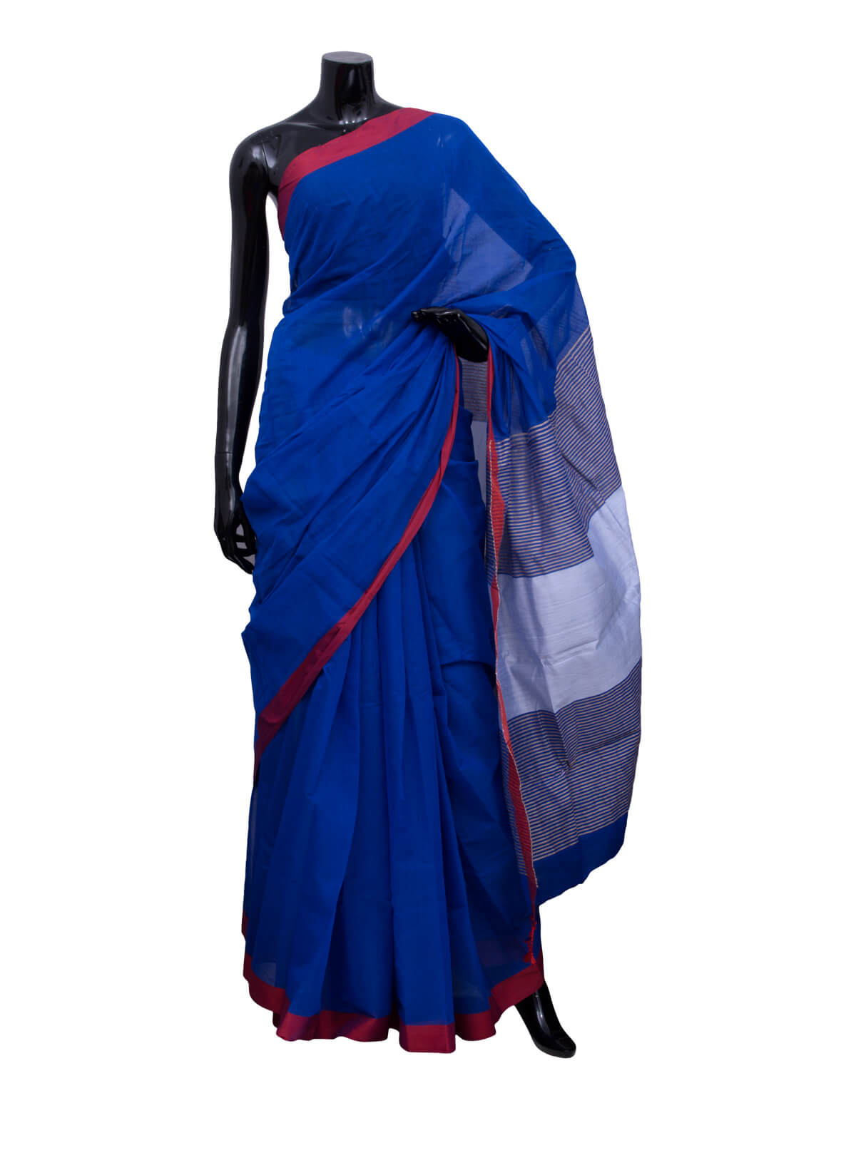Prussian Blue Jute Half Silk Saree