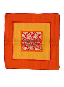 Orange and Yellow Jute Cotton Cushion Cover