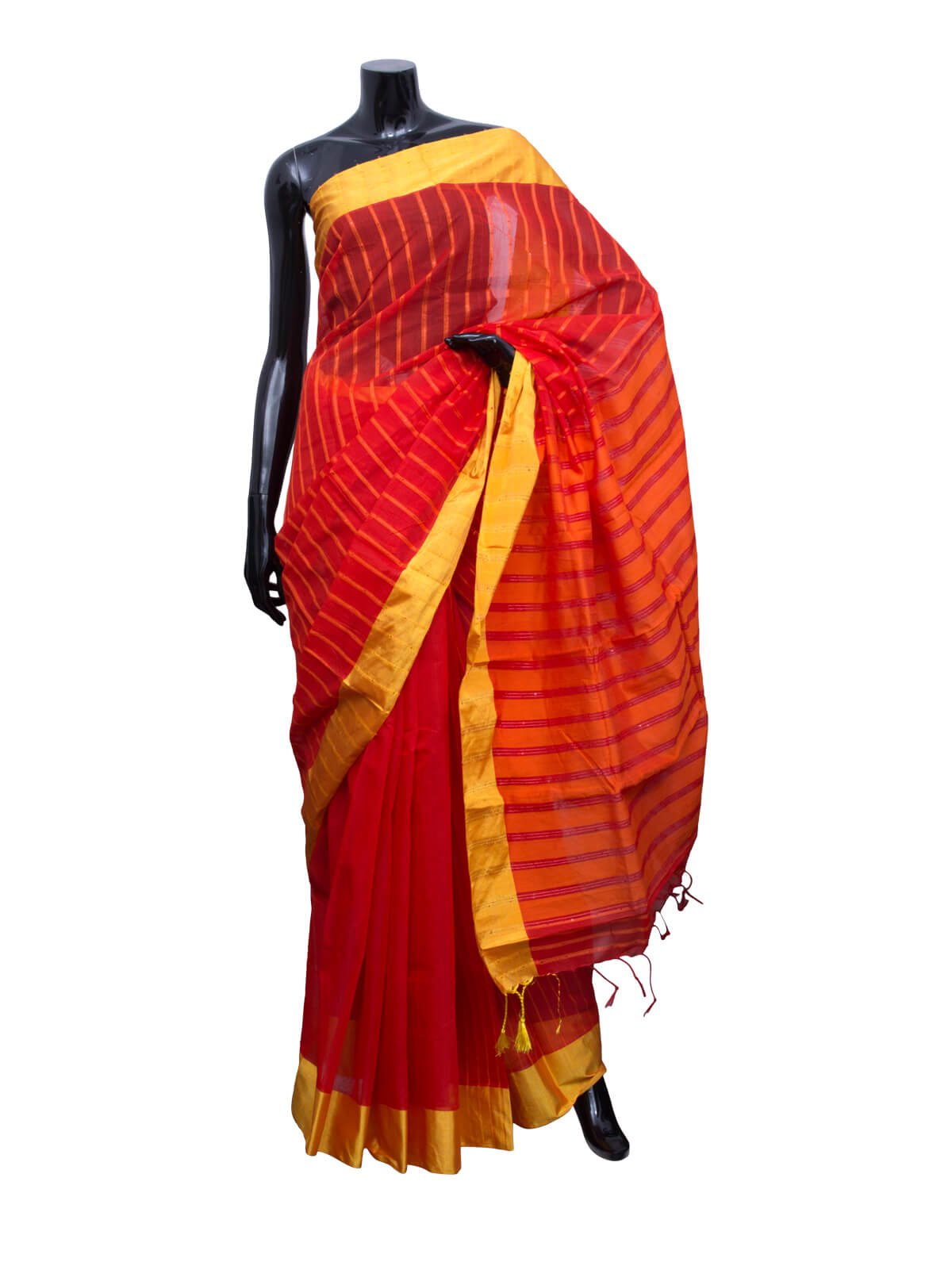 Venetian Red and Lightning Yellow Half Silk Saree