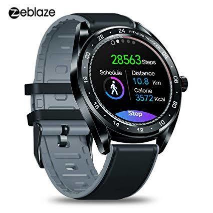 Zeblaze NEO 1.3inch Full-round Touch Screen Blood Pressure Heart Rate Monitor Female Physiological Check Countdown Stopwatch Rejetc Calls Silicone+Leather Band Smart Watch...