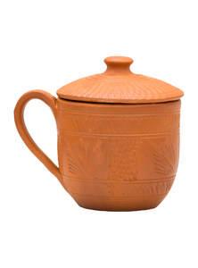 Eco-friendly Handmade Clay Mug with Lid with Fine Terracotta Polish