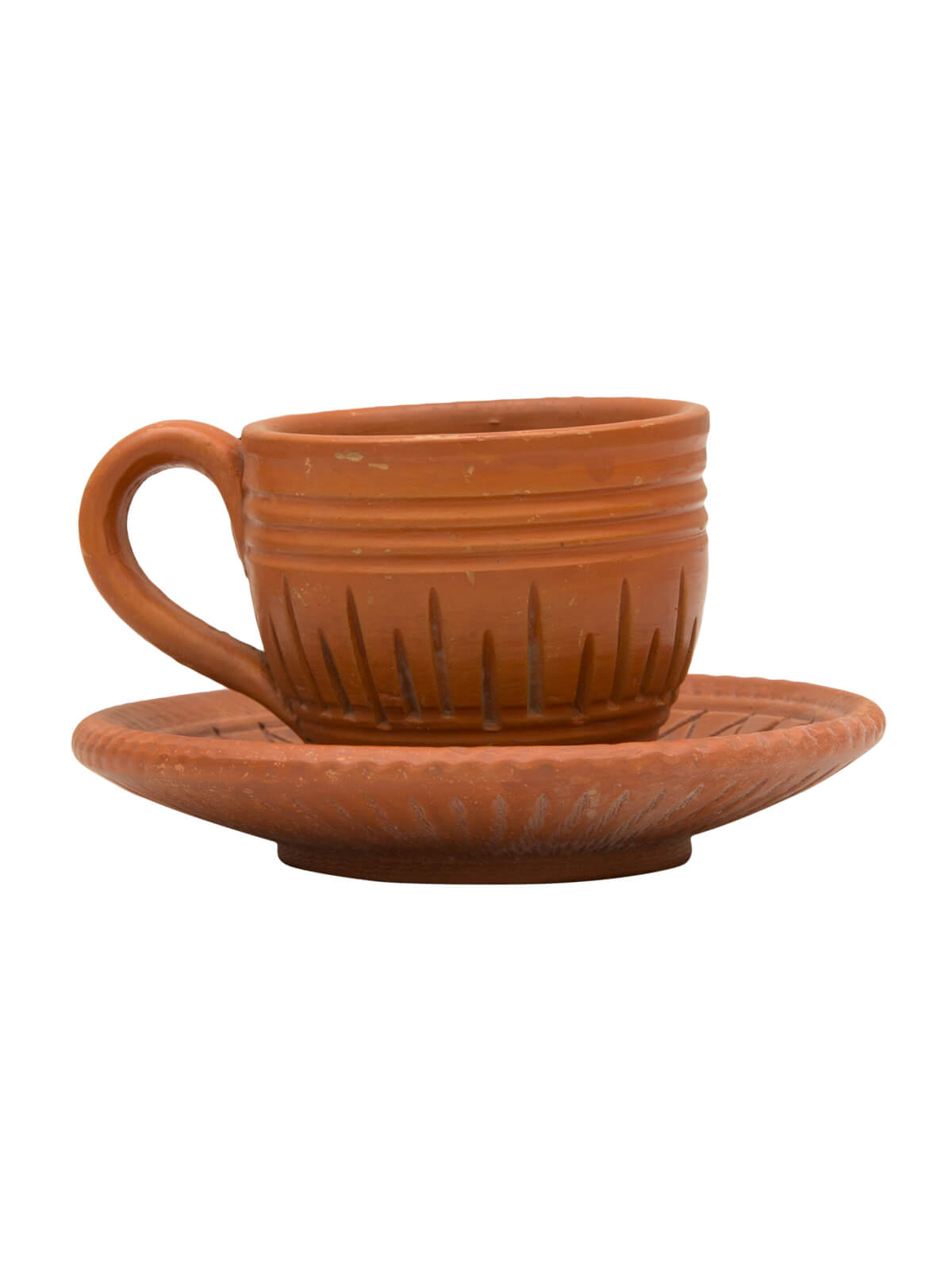 Eco-friendly Handmade Clay Cup and Saucer with Fine Terracotta Polish
