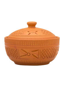 Eco-friendly Handmade Clay Curry Bowl with Lid with Fine Terracotta Polish