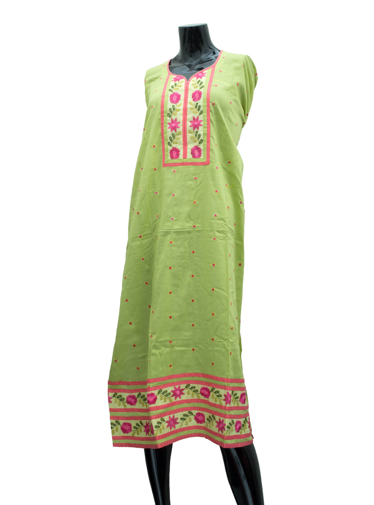Hand Loomed Embroidered Cotton Un-Stitched Three-Piece