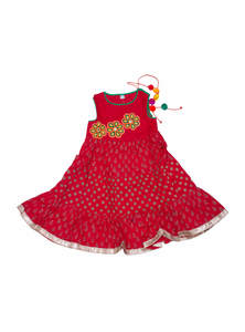Toddler Baby Girls Red Embroidered Cotton Frock