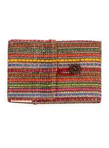 Eco-Friendly Heritage Green Natural Jute Fiber Casual Rattan Woven & Reusable Paper Textiles Notebook