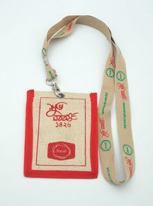 Eco-Friendly & Heritage Green Natural Jute Plane Woven Reusable ID Card Holder