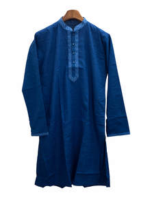 Prussian Blue Gents Cotton Panjabi
