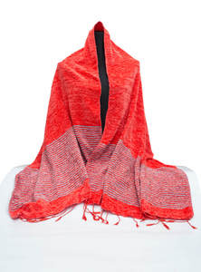Red Hand Loomed Ladies Wool Cotton Shawl