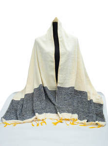 Albescent White Hand Loomed Ladies Wool Cotton Shawl