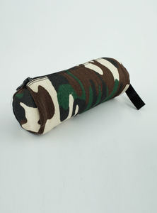 Eco-Friendly Heritage Green Natural Jute Plane Woven Reusable Cylindrical Pencil Pouch