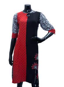 Red & Black Ladies Fancy Kurta/ Kurti