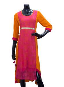 Orange & Pink Ladies Fancy Kurta/ Kurti