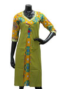 Olive Green & Yellow Ladies Fancy Kurta/ Kurti
