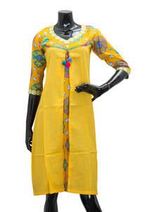 Yellow Ladies Fancy Kurta/ Kurti