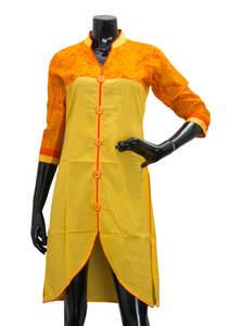 Yellow & Orange Ladies Fancy Kurta/ Kurti