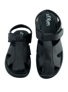 Black Leather Sandals For Men
