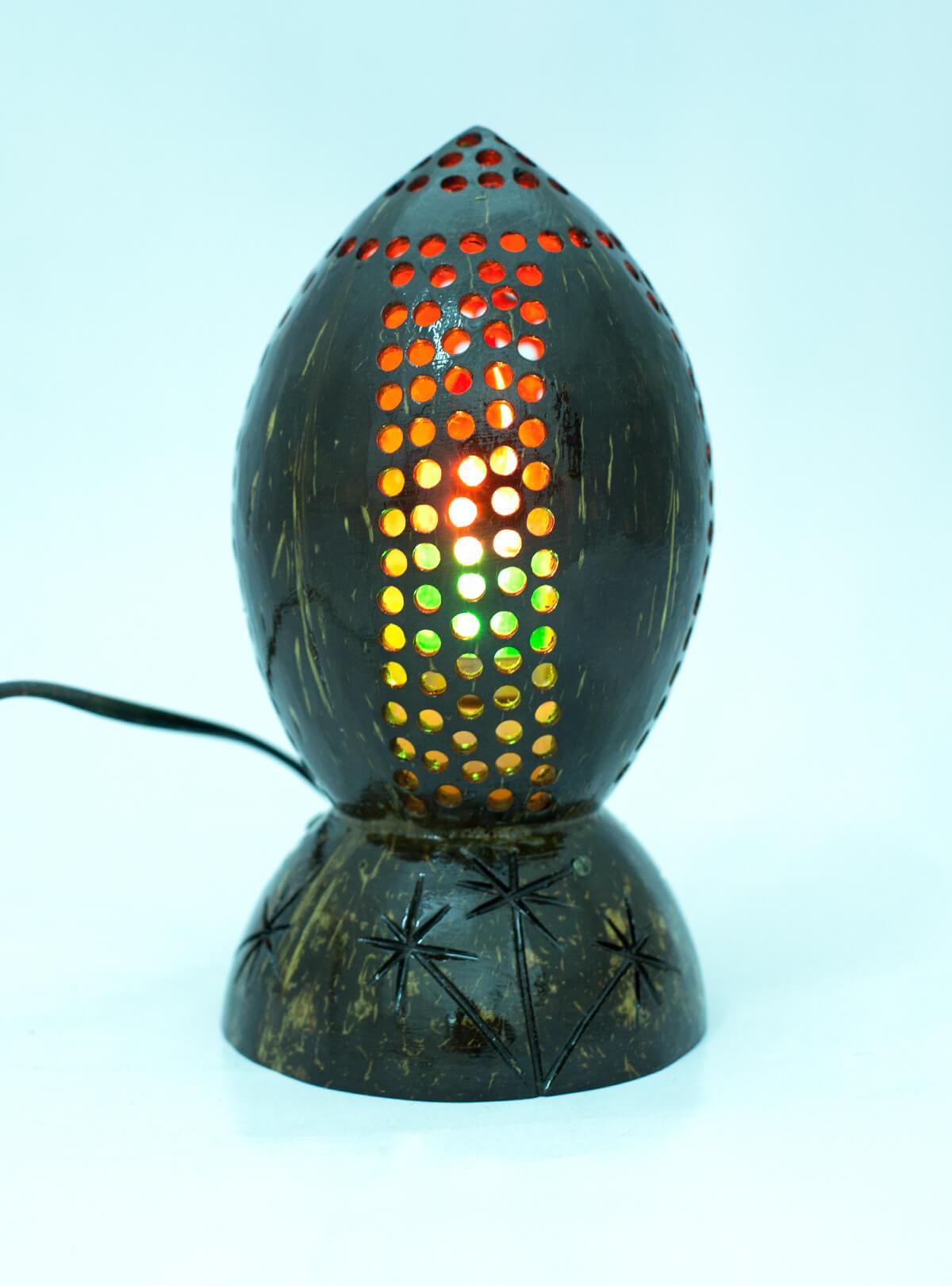 Eco-Friendly & Decorative Handmade Natural Coconut Shell Lamp