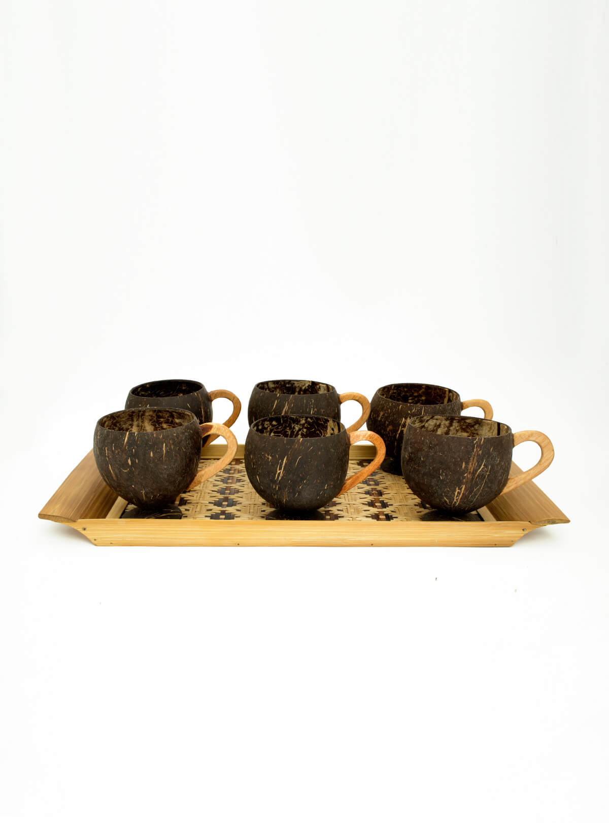 Eco Friendly Handmade Coconut Shell Tray & Cup Set With Spoon