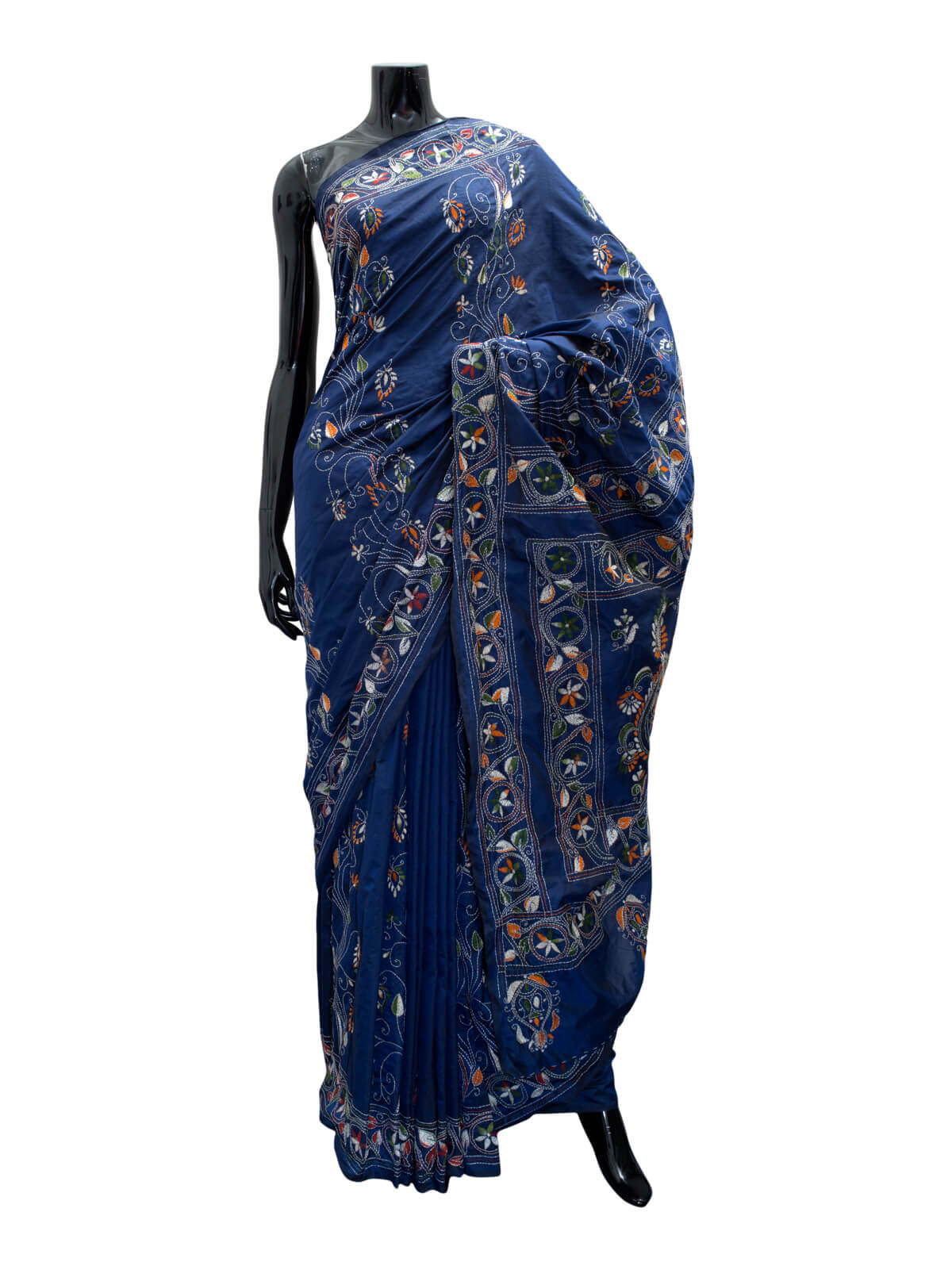 Nakshi Kantha Embroidered Silk Saree